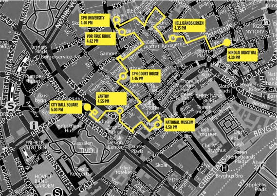 Dominoes 3km route in Copenhagen for the opening of KIT Metropolis Festival, 1st August 2013